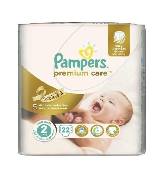 Pampers Бебешки памперс Мини SMP PremCare р-р 2  /3-6 кг./  22 бр.